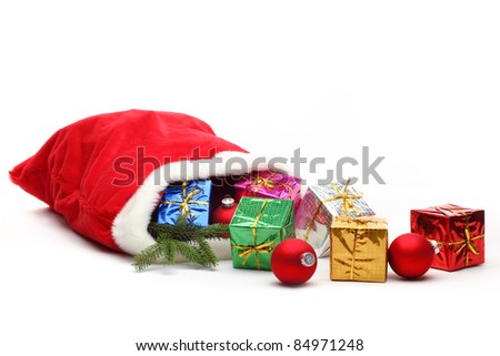 Bag of Santa Claus with gifts,Isolated on white. - stock photo