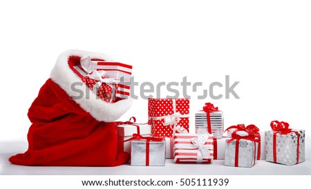 Bag of Santa Claus with gifts on white background