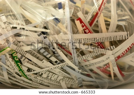 Bag of shredded financial documents - stock photo