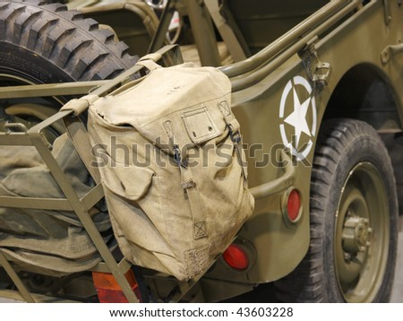 Bag on the military car of US army - stock photo