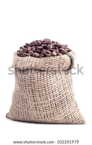 Bag with coffee grains on a white background.