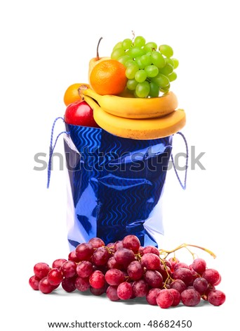 Bag with fruits - stock photo