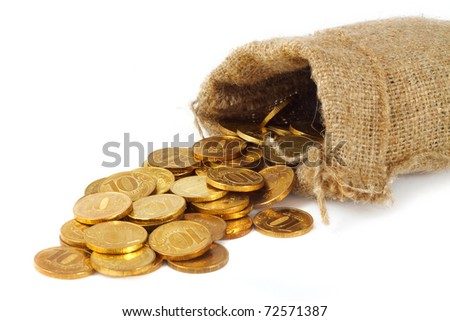 Bag with gold coins isolated on white background