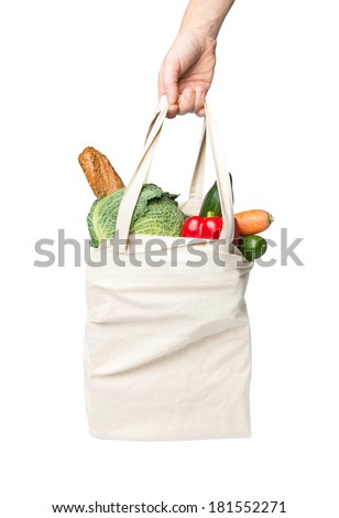 Bag with grocery purchase - stock photo