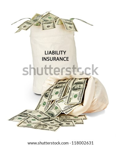 Bag with liability insurance - stock photo