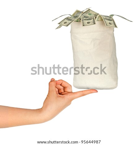 Bag with money - stock photo