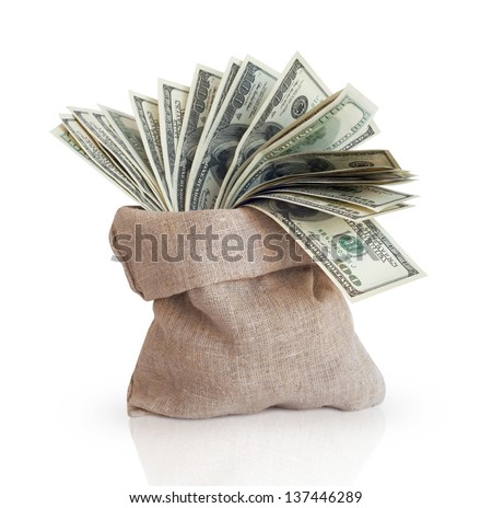 Bag with money isolated on a white background - stock photo