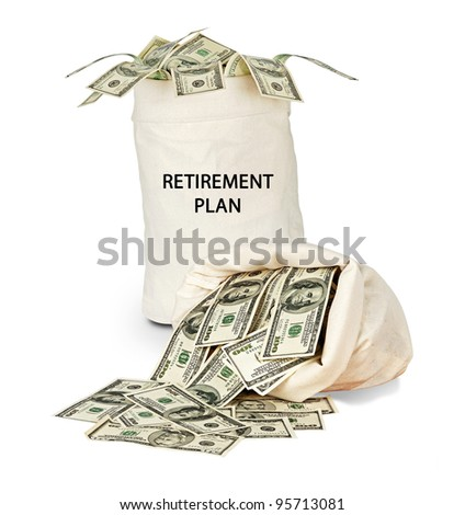 Bag with retirement plan - stock photo
