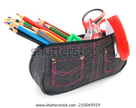 Bag with school tools on white background. - stock photo