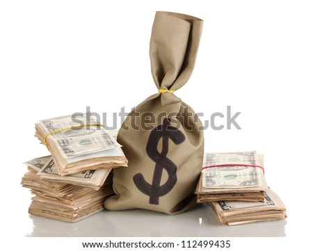 Bag with stacks of dollars isolated on white - stock photo