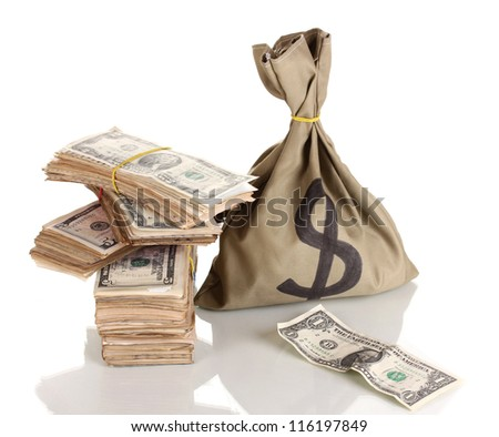 Bag with stacks of dollars isolated on white