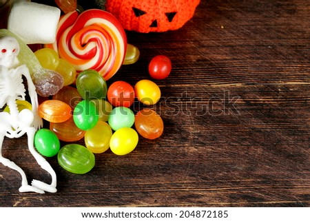 bag with sweets and candy traditional treat on Halloween - stock photo