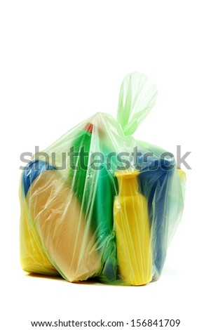 Bag with trash isolated on a white background.
