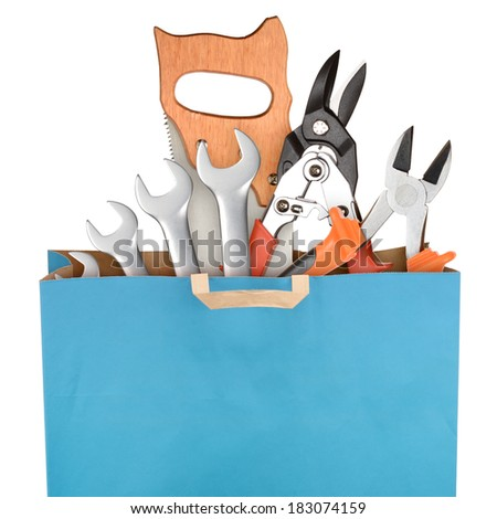Bag with working tool  isolated with on white background