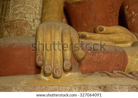 Bagan, Burma - September-06-2015 Detail of the hand of Buddha inside temple in Bagan