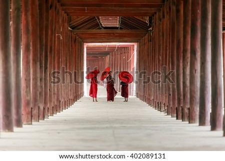BAGAN, MYANMAR - MARCH 13, 2015: Unidentified Buddhism neophyte  monk life style in Buddihist temple on March 13, 2015 in Bagan, Myanmar. Southeast Asian neophyte in a Buddihist temple - stock photo