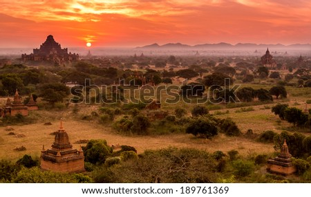 Bagan temples sunrise, Myanmar - stock photo