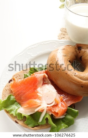 Bagel and salmon Sandwich - stock photo