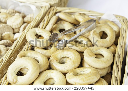 Bagel on a craft market, a typical detail of dessert, food healthy lifestyle - stock photo
