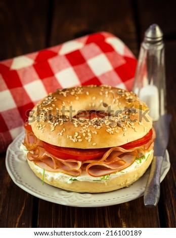 Bagel Sandwich - stock photo