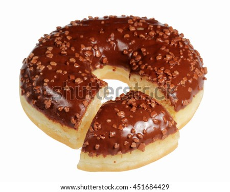 Bagel with chocolate glaze on a white background