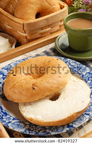 Bagel with Cream Cheese and Coffee - stock photo