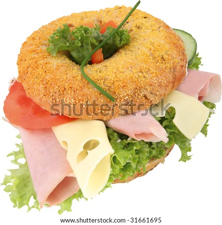 Bagel with ham and cheese - stock photo