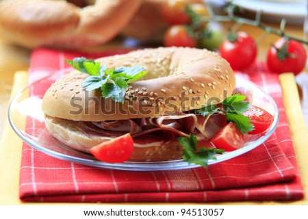 Bagel with Parma ham  - stock photo