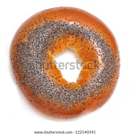 bagel with poppy seeds - stock photo
