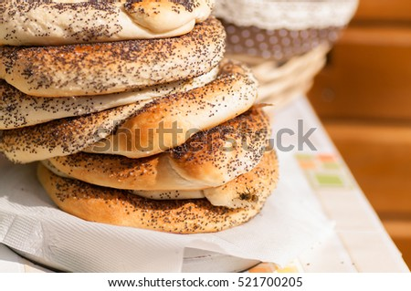 bagel with poppy seeds stack