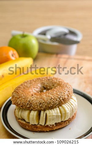 Bagel with sliced banana