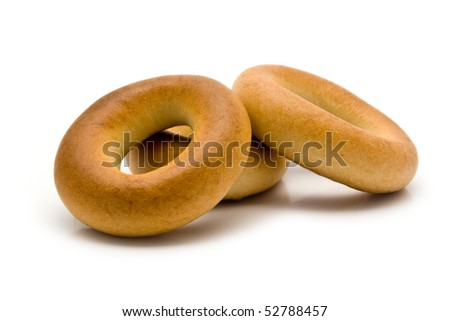 bagels from a wheat on a white background for your illustrations - stock photo