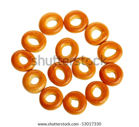 bagels laid out by a pattern - stock photo