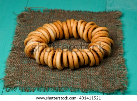 bagels on a wooden table. Rustic style. Top view. Free space for text. - stock photo