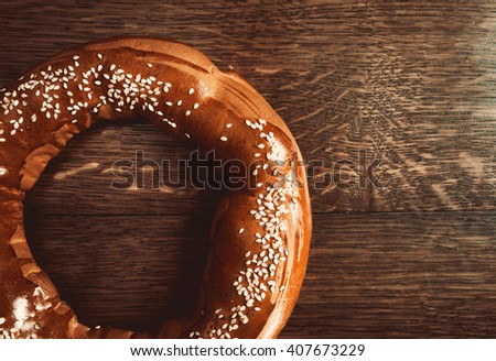 bagels on wooden table - stock photo
