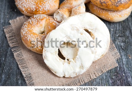bagels with butter - stock photo