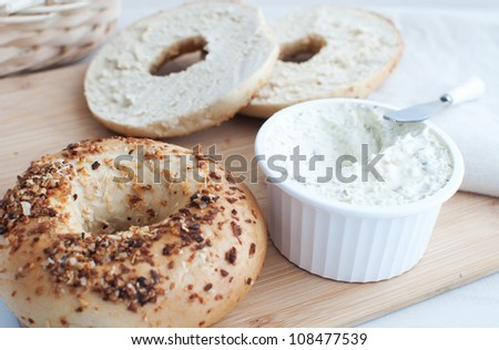 Bagels with cream cheese - stock photo