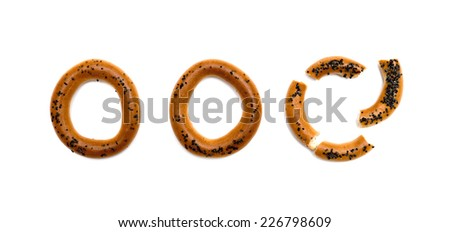 bagels with poppy seeds on a white background