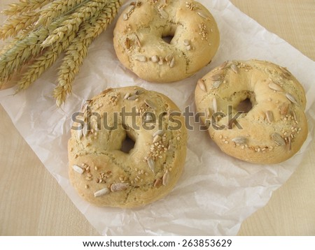 Bagels with sesame and sunflower seeds - stock photo