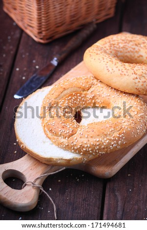 bagels with sesame seeds - stock photo