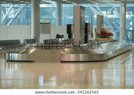 Baggage claim area in airport - stock photo