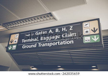 Baggage Claim sign found in the arrival terminal of airports with Retro Instagram Style Filter - stock photo