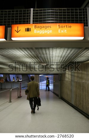 baggage claim sign in airport - stock photo