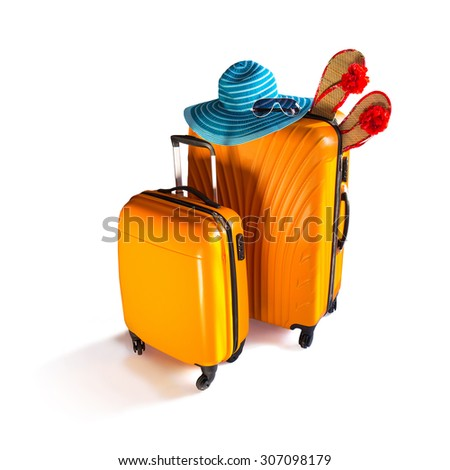 Baggage ready for travel. Orange luggage, hat and sunglasses isolated on white. - stock photo