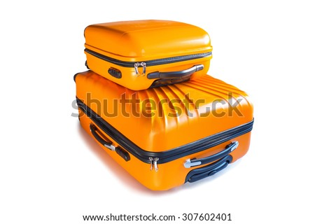Baggages ready for travel isolated on white - stock photo