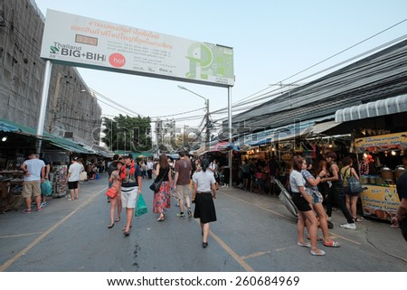 Bagkok, Thailand - Circa March 2015: People shops at Chatujak weekend market. It is the largest weekend market in Bangkok - stock photo
