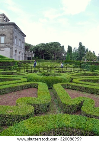 BAGNAIA, ITALY - MAY 27, 2015: A view of the gardens of Villa Lante in Bagnaia, Italy.