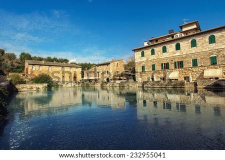 Bagno Vignoni (Tuscany, Italy) - stock photo