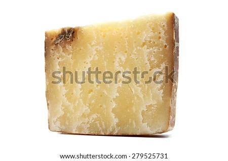 Bagoss cheese on a white background