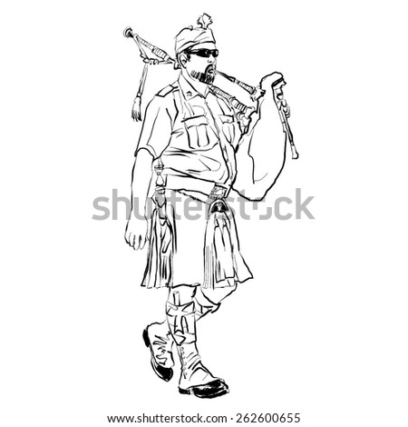 bagpiper, black and white